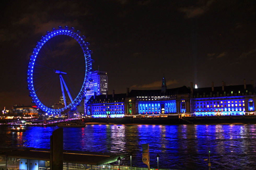 County Hall and London Eye - south bank, Westminster Bridge