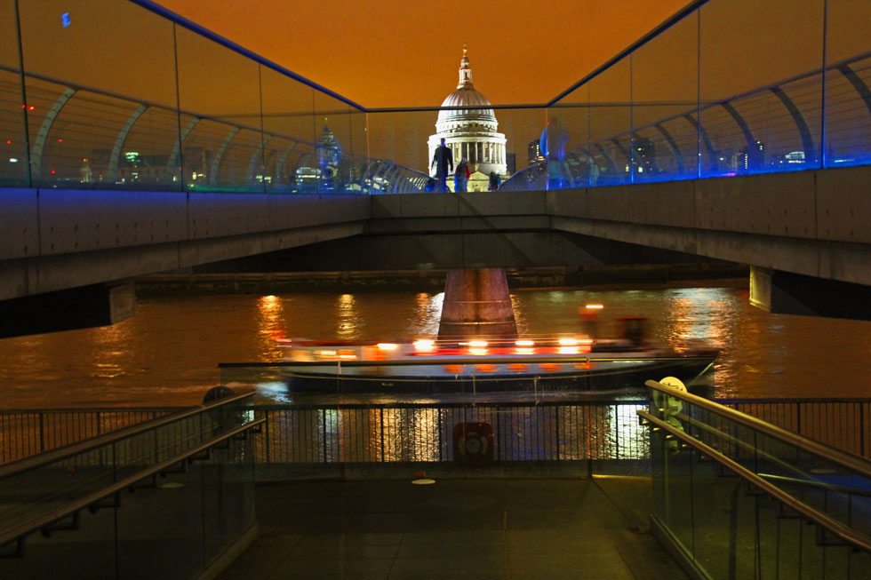 Millennium Bridge ('Wobbly Bridge') - across to St Paul's Cathedral from Tate Modern.